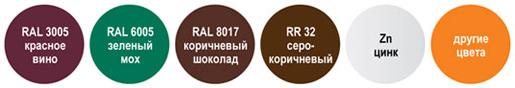 Стандартные цвета парапетных ограждений кровли по каталогам RAL и RR