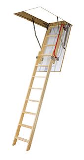 Деревянная двухсекционная раздвижная чердачная лестница Fakro LDK