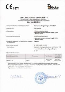 Сертификат СЕ на гибкую черепицу